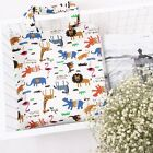 Women's Cotton Happy Animal Zoo Print Tote Canvas Tote Shopping Bag Zipped Bag