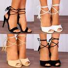 BARELY THERE LACE UPS WRAP ROUND STRAPPY SANDALS PEEP TOES STILETTOS HIGH HEELS