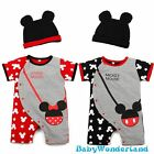 Baby Boys Girls Mickey Minnie 2 Pieces Set Jumpsuit Romper Beanie Size 00,0,1,2