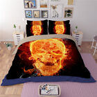 Angry Skull Fire Quilt Duvet Doona Cover Set Single Queen King Size Fitted Sheet