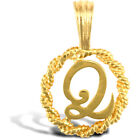 Jewelco London Solid 9ct Gold Rope Identity Initial Charm Pendant Letter Q