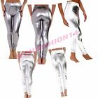 Womens Ladies High Waisted Stretchy Shinny Leggings Disco Dance Pants Trousers