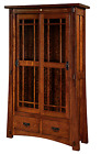 Amish Handcrafted Morgan Bookcase Craftsman Mission Glass Slide Doors Solid Wood