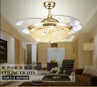 LED crystal invisible ceiling fan light modern Living room fan chandelier lamp