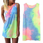 Women Tie Dye Short Mini Dress Sleeveless Sundress Cocktail Party Beach Tee Tops