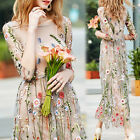 New Summer Flower Embroidery Floral Mesh Evening Party Maxi Cocktail Long Dress