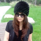 New Business Real Mink Fur Hat Winter Knitted 2017 AU Design Cap Lady Headgear