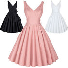 Women Lady Retro Swing Deep V Dress Housewife Party Vintage Style Pinup Dresses
