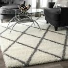 nuLOOM Moroccan Diamond Contemporary Geometric Shag Area Rug in Gray and White