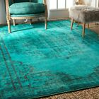 turquoise rug - nuLOOM New Overdyed Traditional Oriental Printed Area Rug in Turquoise Blue