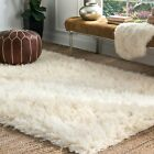 nuLOOM Hand Made Greek Flokati Wool Plush Shag Area Rug in Natural Cream Color