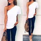 Women Trendy Summer Short Sleeve One Shoulder Shirt Blouse T-Shirt Top Tee White