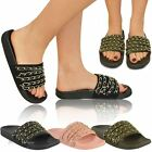 Womens Ladies Chain Sliders Tweed Tropiconic Slides Sandals Summer Shoes Size
