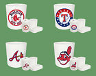 WHITE MLB LOGO THEME 4 PC BATHROOM SET TRASH CAN TOOTHBRUSH HOLDER CUP SOAP DISH