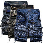Mens Hiking Outdoor Holiday Relaxed Cotton Multi-Pocket Cargo Shorts Short Pants