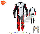 Red Motorbike gears one piece leather with perforated leather racing bike suit