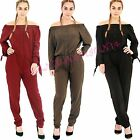 NEW WOMENS LADIES OF THE SHOULDER BARDOT LONG SLEEVE BUTTON ALL IN ONE JUMPSUIT
