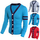 New Men Casual Slim Fit V-neck Knitted Cardigan Sweater Tops gray blue black