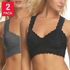 New Women Ladies Felina 2 Pack Black Grey Lace Bralette Wide Band T back S M L X