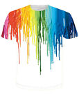 NEW Funny 3D T-Shirt Colorful Ink Rainbow Top Print Tee Fashion Size S M L - 5XL