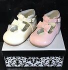 Spanish Patent Style SEVVA Baby Infant Girls Bow Shoes Pink / Cream Size 2/3/4/6