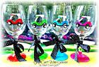 Golf Cart Wine Glass Hand Painted Ladies Whimsical Game G...