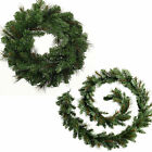 Victorian Pine Christmas Large Wreath 9ft Garland Decoration Plain