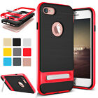 Luxury Thin Dual Bumper Rubber TPU Back Case Cover With Kick Stand For iPhone 7