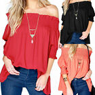 Women Off the Shoulder Tops Casual Loose Plus Size T Shirt Puff Sleeve Blouse -