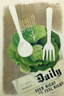 9443 EAT GREENS for health VINTAGE hans schleger UK-Art Silk Cloth Poster