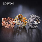 Romantic Women Flower Floral Wedding Engagement Ring Bands Jewelry Promise Rings