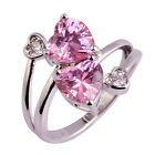 Love Heart Cut Pink Topaz Engagement Wedding Silver Plated Women Ring Jewelry