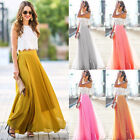 New Women High Waist Maxi Long Dress Flared Pleated Swing Long Skirt Sundress