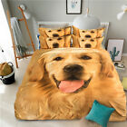 New Golden Dog Animal Single Queen King Quilt/Duvet/Doona Cover Set Sheet Fitted