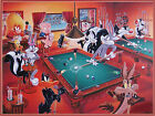 funny billiards Pool palying Dogs Quality wall Art poster Choose your Size $27.5 AUD on eBay