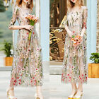 New Women Mesh Embroidery Floral Evening Party Wedding Cocktail Dress Ball Gown
