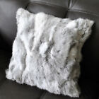 Sofa Pillow Case Suave Home Coming Real Farm Rabbit Fur Plush Cushion Cover Gray