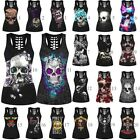 Womens Summer Tops Vest Skull Punk Party  Casual Tank Clothes Sleeveless T-shirt