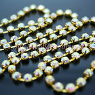 Gold Chain Rhinestones AB Crystal Iridescent Diamond Sew On Cup 1m to 10metres