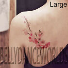 SMALL OR LARGE PINK WATERCOLOR CHERRY BLOSSOM BRANCH TEMPORARY TATTOO STICKER
