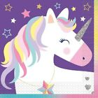 Unicorn Tableware Plates Cups Napkins Party Bags Tablecover Foil & Latex Balloon