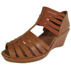 Gentle Souls Womens Lina Leather Caged Wedge Sandal Shoes