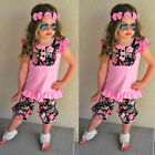 Floral Summer 2PCS Kids Baby Girls Vest Tops Shirt+Shorts Pants Clothes Outfits