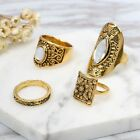 Boho Ancient Gold Silver Plated Carved Totem Beach 4PCS Knuckle Midi Ring Set ne