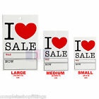NEW TOP QUALITY 'I LOVE SALE WAS/NOW' PRICING TAGS  HANGER LABEL CARDS FREE P&P