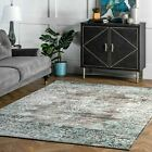blue and gray rug - nuLOOM Traditional Vintage Distressed Corene Area Rug in Gray and Aqua Blue