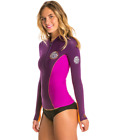 Rip Curl G Bomb 1mm Long Sleeve Front Zip Jacket  Womens Spring Wetsuit PUR, GRY