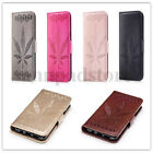 Leaf PU Leather Back Flip Stand Card Wallet Case Cover Skin For Samsung Galaxy