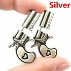 1Pair Party Faux Jewelry Double Pistol Gun Shaped Earrings Heart Ear Stud