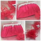 Red Clutch Bag and Fascinator Set Occasion Wedding Prom Ladies Day Races UK